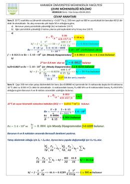 Hidrolik Vize Sınavı Soru Çözümleri