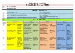 Sözlü Sunum Programı - İç Anadolu Bölgesi 2. Tarım ve Gıda Kongresi