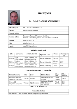 ÖZGEÇMİŞ Dr. Celal DAĞISTANLIOĞLU