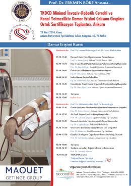 Damar Erişimi Kursu - Türk Kalp ve Damar Cerrahisi Derneği