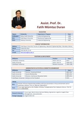 Assist. Prof. Dr. Fatih Mümtaz Duran