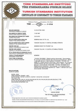 certıfıcatı of conformıty to turkısh standards