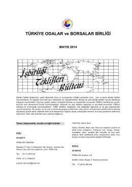 2014 Mayıs (pdf-254 Kb) - Dünyadan İşbirliği Teklifleri
