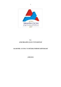 Akademik Atama ve Değerlendirme Kriterleri