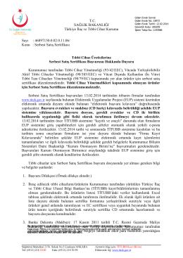 Serbest Satış Sertifikası Duyurusu 12.02.2014