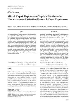 Mitral Kapak Replasmanı Yapılan Parkinsonlu