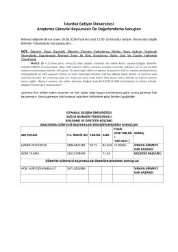 SBYO Ön Değerlendirme Sonuçları