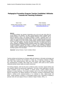 Attitudes Towards the Teaching Profession - ajesi