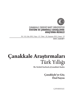 Sunuş/Introduction - Çanakkale Araştırmaları