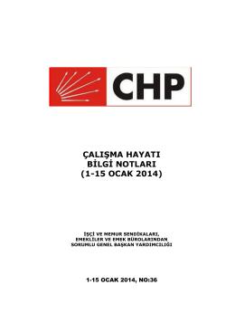 ÇALIŞMA HAYATI BİLGİ NOTLARI (1-15 OCAK 2014)