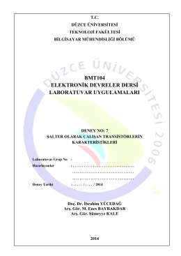 BMT104_07_Deney_7 - Düzce Üniversitesi Bilgisayar Mühendisliği