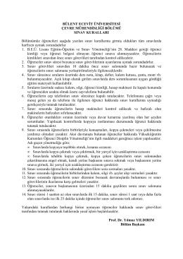 BEÜ Çevre Sınav kuralları - Çevre Mühendisliği Bölümü