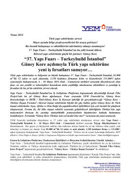"""""""37. Yapı Fuarı – Turkeybuild İstanbul"""" Güney Kore açılımıyla Türk"""