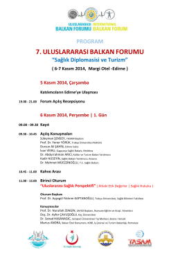 6-7 Kasım 2014, Margi Otel -Edirne