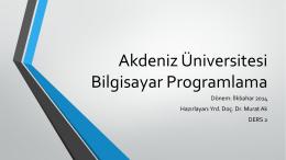 Yardımcı Java Ders-2 - Akdeniz Üniversitesi