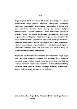 Doküman Yönetim Sistemleri ve bir EBYS Uygulaması