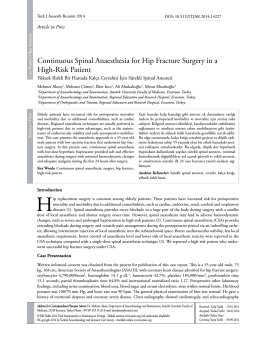 Continuous Spinal Anaesthesia for Hip Fracture