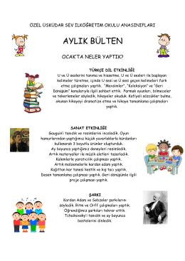 AYLIK BÜLTEN - Özel Üsküdar SEV İlköğretim Okulu