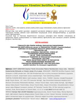 İnovasyon Yönetimi Sertifika Programı*