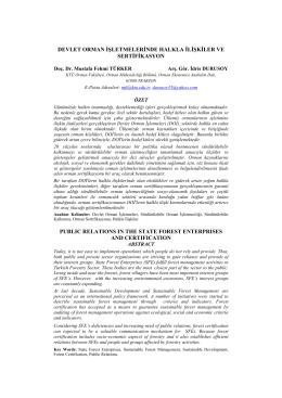 devlet orman işletmelerinde halkla ilişkiler ve sertifikasyon publıc