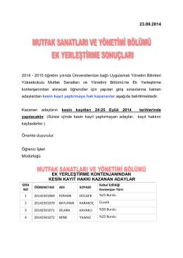 23.09.2014 ek yerleştirme kontenjanından kesin kayıt hakkı kazanan