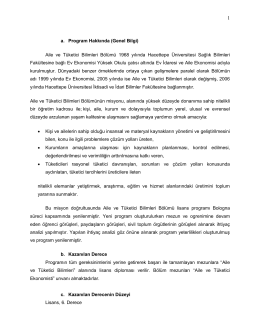 Lisans Programı Bilgi Paketi - Ev Ekonomisi Bölümü