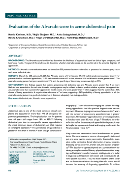 Evaluation of the Alvarado score in acute abdominal
