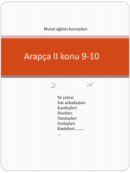 Arapça II konu 9-10