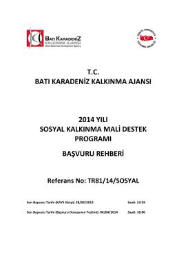 2014 Yılı Sosyal Kalkınma Mali Destek Programı Başvuru