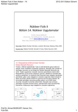 Nükleer uygulamalar - Prof.Dr. Ahmet Bozkurt