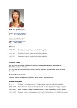 Prof. Dr. Işıl Özyıldırım - İngiliz Dilbilimi Bölümü