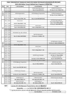 2013-2014 Bahar Donemi Ders Programi