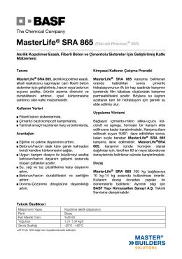 5) MasterLife® SRA 865 (Eski adı Rheomac® 865) Akrilik