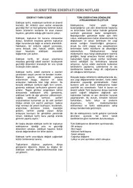 10. Sınıf Türk Edebiyatı Ders Notları