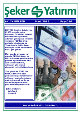 AYLIK BÜLTEN Mart 2015 Sayı:210 www