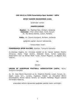 CAS 2013 a 3256 Fenerbahçe Spor Kubülü v UEFA