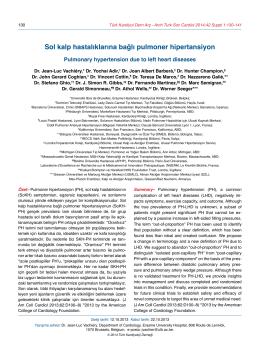 Sol kalp hastalıklarına bağlı pulmoner hipertansiyon
