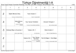 Türkçe Öğretmenliği I-A - Recep Tayyip Erdoğan Üniversitesi
