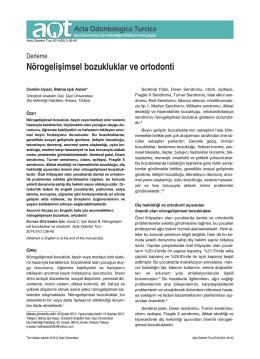 Nörogelişimsel bozukluklar ve ortodonti