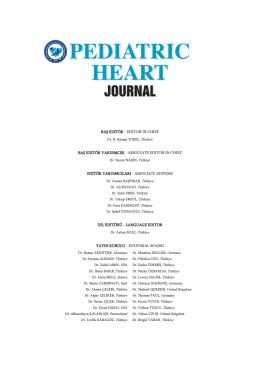 baş editör - türk pediatrik kardiyoloji ve kalp cerrahisi derneği