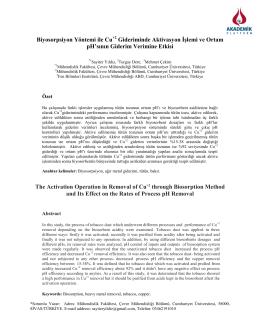 Biyosorpsiyon Yöntemi İle Cu2+ Gideriminde