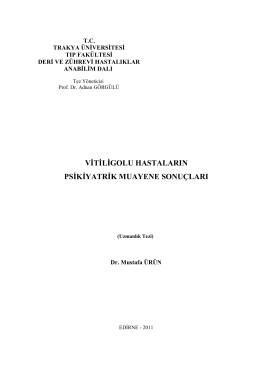 vitiligolu hastaların psikiyatrik muayene sonuçları
