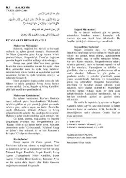25.04.2014 Tarihli Hutbe : ÜÇ AYLAR VE REGAİB KANDİLİ