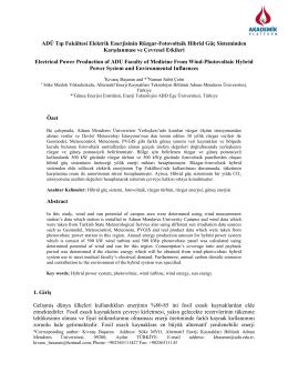 Adü Tıp Fakültesi Elektrik Enerjisinin Rüzgar-Fotovoltaik