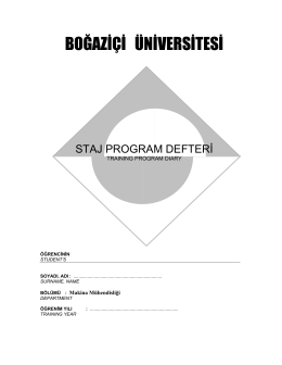 Staj programı Training Program