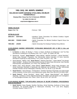 Yrd. Doç. Dr. Serpil DEMİRCİ - Giresun Üniversitesi Bulancak Kadir