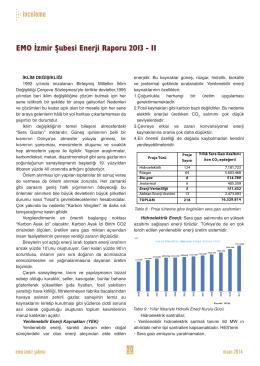 EMO İzmir Şubesi Enerji Raporu 2013