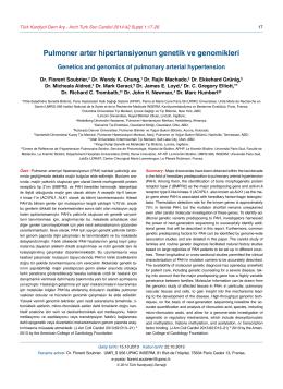 Pulmoner arter hipertansiyonun genetik ve genomikleri