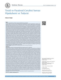 Tiroid ve Paratiroid Cerrahisi Sonrası Hipokalsemi ve Tedavisi