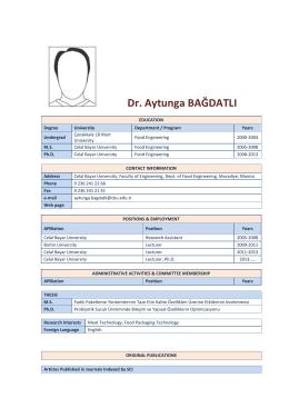 Lec.Dr.Aytunga BAĞDATLI - Celal Bayar Üniversitesi